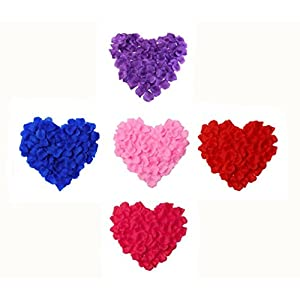 Fantasee 3000 Pieces Artificial Rose Petal Fake Flower Petal for Wedding Party Decoration Colors Sorted Pink Red Blue Purple Rose-Red 81