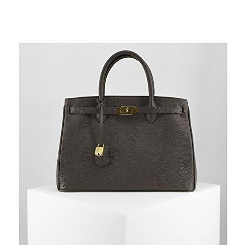 Rouven Vert Gris Gris Vert Sharkskin Brown & Gold ICONE 35 CITY Sac fourre-tout Sac en cuir dames sac à main noble minimaliste chic et moderne (35x26x18cm)
