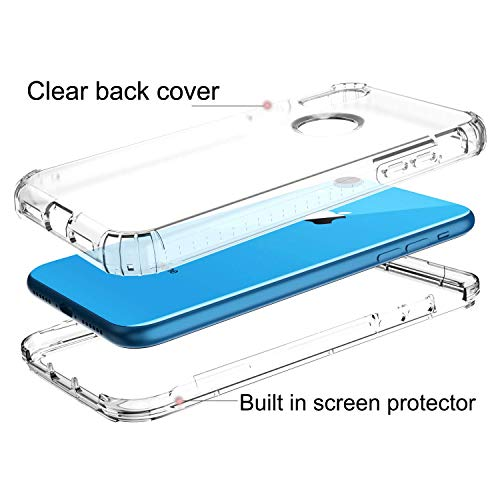 smartelf Clear Case for iPhone XS Max Full body Heavy Duty Protection Built in Screen Protector Transparent Cover Dustproof Shockproof Shell for iPhone XS Max 6.5 inch-Clear