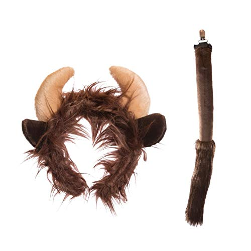 Wildlife Tree Plush Buffalo Ears Headband and Tail Set for Buffalo Costume, Cosplay or Forest Animal -