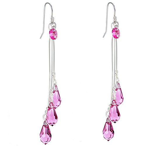 Pink Crystal Drop Jewelry - CewanCe 3 Lines Pink Crystal Dancing earrings handmade Jewelry Stainless Steel Drop Earrings With Swarovski Elements crystals (ear33-Blue) (ear32-Pink)
