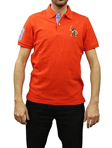 U.S. Polo Assn. Men's Short-Sleeve Pique Polo Shirt with Multi-Color Pony Logo, Crimson Fire-3403, Large
