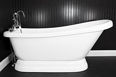 """HLSLPD59FPK 59"""" long Single Slipper CoreAcryl PEDESTAL Tub with Pedestal Base and BRUSHED NICKEL, Faucet, Supply Lines and Drain"""