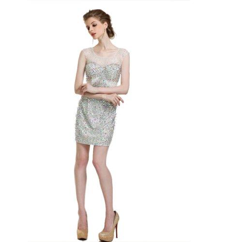 Damen Kurz Charmeuse Dearta Etui U Rueckenfrei Kleidungen Ausschnitt Champagner Mini Linie Aermellos Abendkleider 60q0Bwd