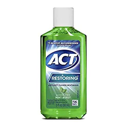 ACT Restoring Anticavity Fluoride Mouthwash, Mint Burst, 3 Ounce Travel Size (Pack of 3)