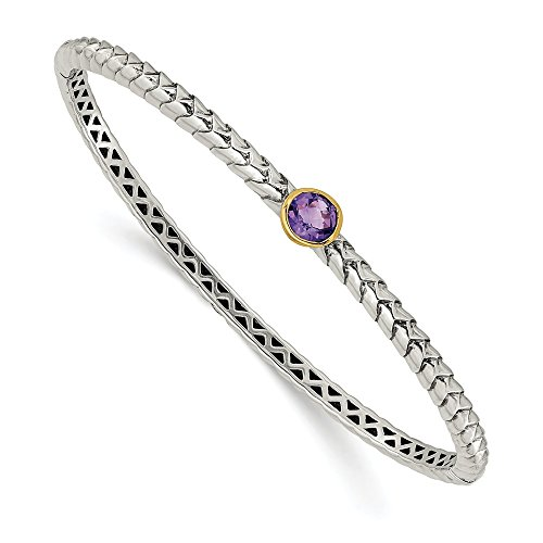 (14K White Gold Amethyst Bangle Bracelet Hinged 13 mm 13 mm Yellow Gemstones Bracelets Jewelry)