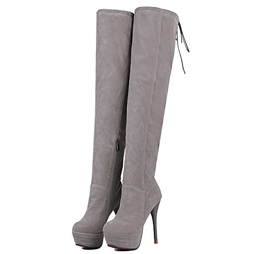 Mode Talon Stiletto Haut Talon Bout Rond Plate-forme Lace Up Cuisse Haute Botte Gris