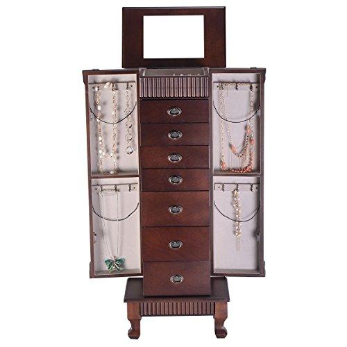 - (US Stock) Jewery Armoire Jewelry Cabinet Box Storage Chest Necklace Wood Walnut Stand Organizer (Brown)