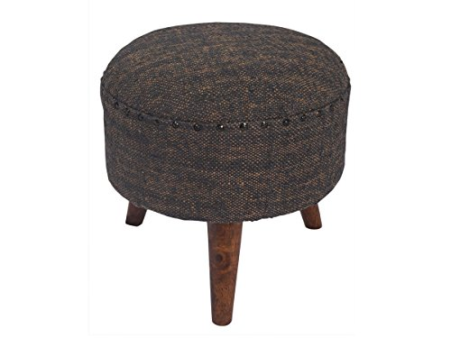 Wooden Round Ottoman Foot Stool Rest 100% Cotton with Foam Filler Upholstery Fabric Grey Color Home Furniture Decor