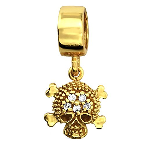 So Chic Jewels - Vermeil - Silver Gilt (18k Gold over 925 Sterling Silver) Pendant Charm - Skull Bones Pirate White Cubic Zirconia - Compatible with Pandora, Trollbeads, Chamilia, Biagi