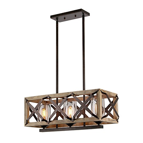 Eumyviv C0029 3-Lights Rectangle Wood Metal Pendant Lamp Light Fixture with Bubble Glass Shade Black Finished Retro Rustic Vintage Industrial Edison Ceiling Lamp Linear Chandeliers - Linear Black Wood