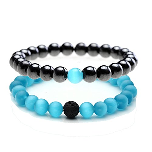 JOVIVI 2pc/set Yin Yang Balance Natural 8mm Black Agate Crystal Quartz Gemstones His and Her Lover Couples Friendship Stretch Beads Bracelets