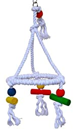 Bonka Bird Toys 1422 Rope Swing Pyramid Perch Toy Parrot Cage Toys Cages Parakeet Lovebird Conure Cockatiel