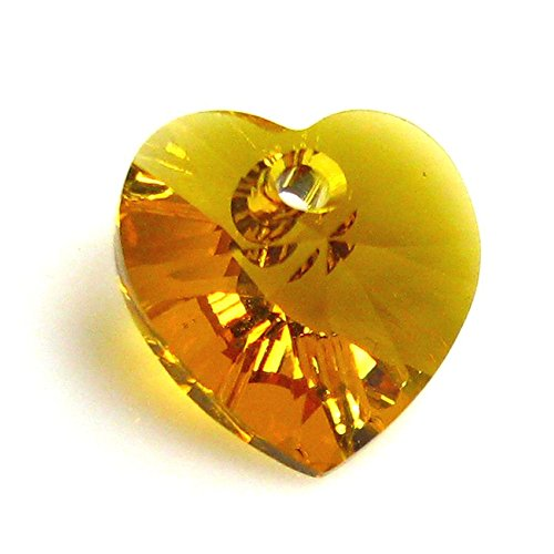 Topaz Swarovski Crystal Pendant (Dreambell 4 pcs Swarovski Elements 6228 Xilion Crystal Heart Charm Pendant Topaz 10mm)