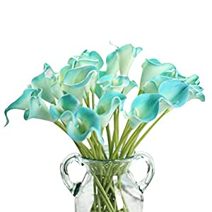 Artificial Flowers, Fake Flowers Silk Plastic Artificial Calla Lily Bridal Wedding Bouquet for Home Garden Party Wedding Decoration 12Pcs (Pure White) 7