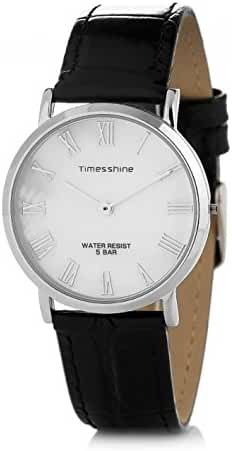 Timesshine Men's Retro Ultrathin TSM1520 Shell Dial Watch with Black Leather Band