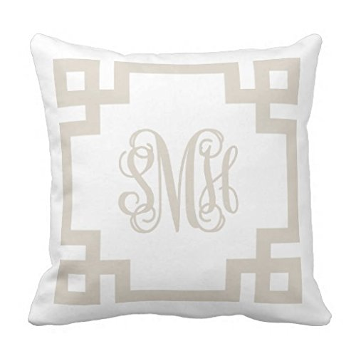 Linen Beige and White Greek Key Monogram Throw Pillow Cover Square Decorative Accent Cushion Cover for Sofa and Couch 18 x 18