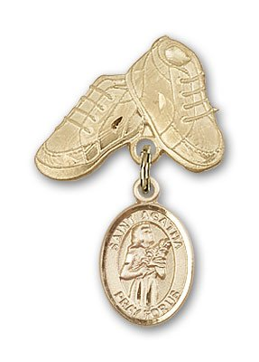 ReligiousObsession's 14K Gold Baby Badge with St. Agatha Charm and Baby Boots Pin