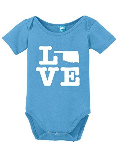 Oklahoma Love Printed Infant Bodysuit Baby Romper Light Blue 6-12 Month