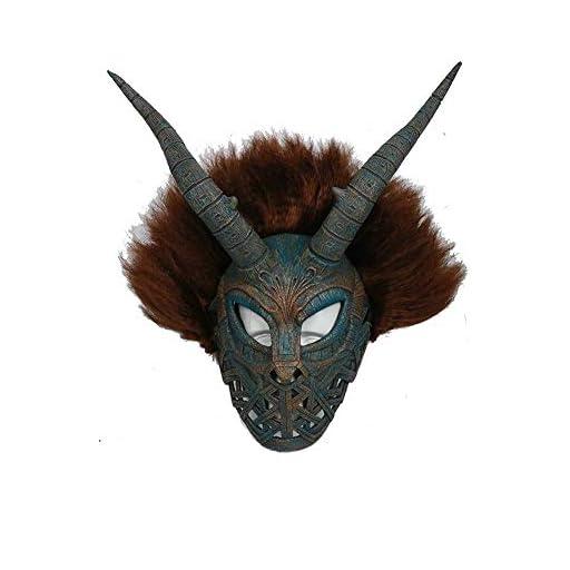 PONGONE Erik Killmonger Stevens Mask - Black Panther Helmet with Brown Wig Cosplay Prop Latex