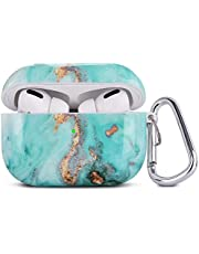 QINGQING Airpods Pro Case, 3 in 1 Cute Marble Airpod Pro Protective Hard Case Cover Shockproof Women Girls Men with Keychain for Airpods 3 Charging Case (Green)