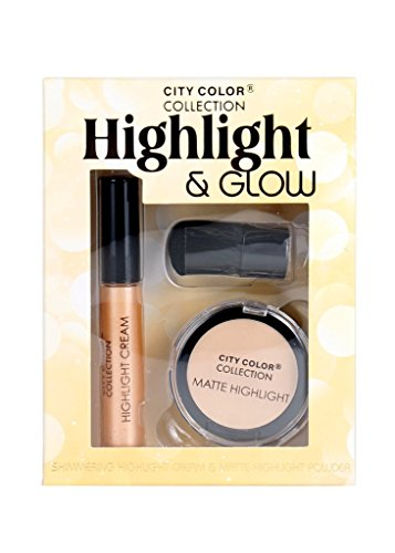 City Color Highlight & Glow Shimmering Cream Matte Powder w/ Face Brush Set
