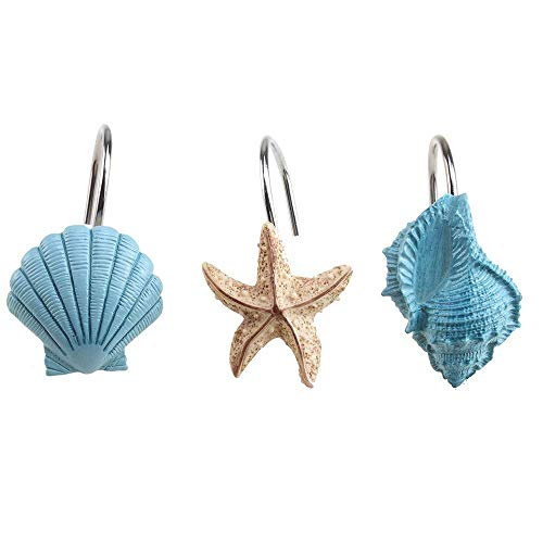 (AGPtek® 12 PCS Fashion Decorative Home Bathroom Seashell Shower Curtain Hooks (Seashell: Blue; Starfish: Tan; Conch: Blue))