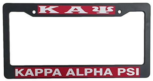 Kappa Alpha Psi Black Plastic License Plate Frame Greek Fraternity Letter For Front Back of Car (Greek Plate Frame License)