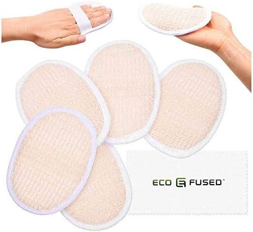 Almohadillas de esponjas (Paquete de 5) – Esponjas Exfoliantes – Material Luffa Natural – Producto esencial para el cuidado de la piel – Para ducha/baño – Textura fibrosa