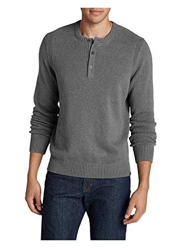 - Eddie Bauer Men's Signature Cotton Henley Sweater, Med Htr Gray Tall XL