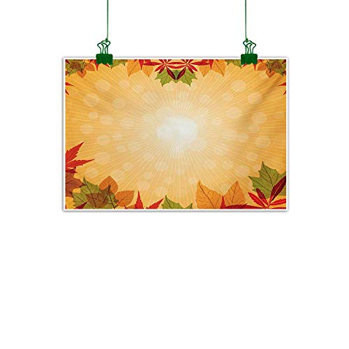 Unpremoon Harvest,Canvas Art Painting Striped Dotted Background and Vibrant Maple Aspen Oak Leaves Seasonal Nature Kitchen Home Decorations Red Green Orange W 36