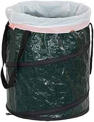 Household Essentials 2032-1 Pop Can and Leaf Bag with Zipper Lid   Portable Yard Waste and Trash Collector   13 Gallon, Green