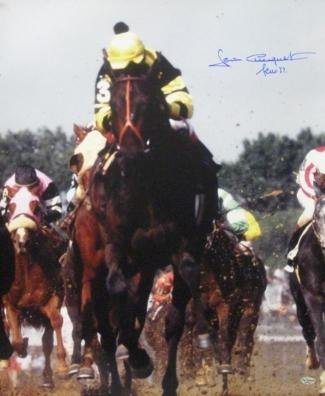 Seattle Slew signed Kentucky Derby Horse Racing 16x20 Photo Vertical w/Slew 77 - Autographed Sports Photos