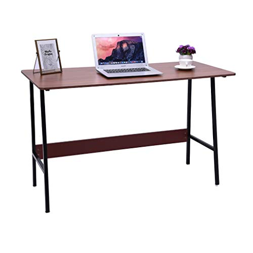 XGao Simple Study Desk Writing Table Computer Desk Coffee Tables Mobile Laptop Cart with Wood Desktop Table Top Portable Steel Pipe Saving Space for Bed Sofa Home Office Bedroom (KH)