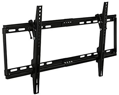 "Mount-It! MI-1121M Slim Tilt TV Wall Mount Bracket for LED LCD Plasma Flat Screen Panels for 32"" to 65"" (Many from 20-75"") up to VESA 600 x 400 and 130 lbs Low Profile. 0-15 Degree Forward Adjustable Tilting Including 6 ft HDMI Cable and Leveling Bubble F"