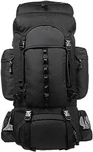 AmazonBasics Internal Frame Hiking Backpack with Rainfly, 55 L, Black