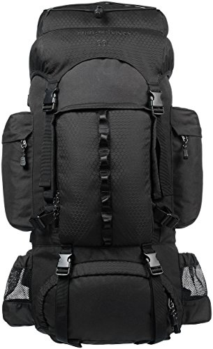 35 Internal Frame Pack - AmazonBasics Internal Frame Hiking Backpack with Rainfly, 55 L, Black