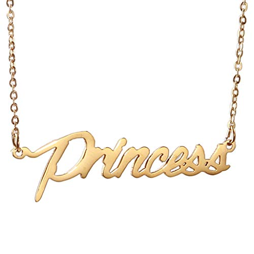 (AIJIAO 18k Gold Plated Script Nameplate Name Necklace Personalized Choker Women Gift/Princess)