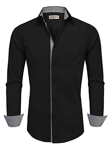Tom's Ware Mens Casual Slim Fit Inner Striped Longsleeve Shirt TW048SN-BLACK-US L