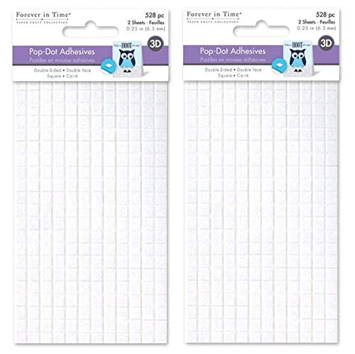 Forever in Time PD108 3D Pop Dots Square Dual-Adhesive Foam Mount, 1/4-Inch, 528 Per Package (2-(Pack)) ()