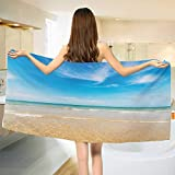 Chaneyhouse Ocean,Bath Towel,Sea and Sky Landscape at Beach in Tropical Exotic Fantastic Hawaiian Caribbean Lands,Customized Bath Towels,Cream Blue Size: W 19.5'' x L 39.5''