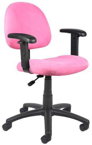 Boss Office Products B326-PK Perfect Posture Delux Microfiber Task Chair with Adjustable Arms in Pink