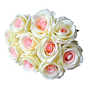 AKIMPE Artificial Fake Flower Faux Greenery DIY Decorations Forever Petals Long Stem Vine Preserved Gift for Wedding Party Home Birthday Garden Her Women 10 Heads 38