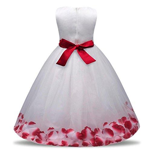 Mädchen Kleider Festlich Kleider Longra Blumenmädchenkleider Hochzeitskleid Maxikleid Brautjungfern Kleid Prinzessin Abendkleid Party Maxi Kleid Spitze Festzug Cocktailkleid Wine