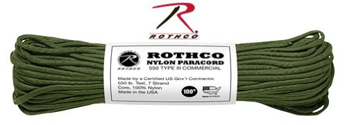 Rothco Military 100ft Nylon Paracord Rope Olive Green (550 Lb Olive Drab)