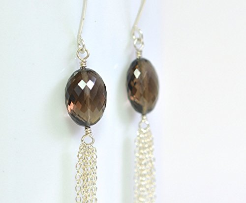 - Long Sterling Silver Earrings - Smokey Quartz Earrings - Smoky Gray Gemstone Earrings