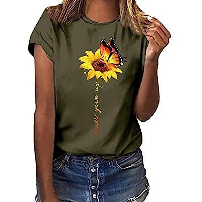 Aniywn Women Summer Basic T-Shirt Plus Size Floral Print Short Sleeved Tunic T-Shirt Blouse Tops