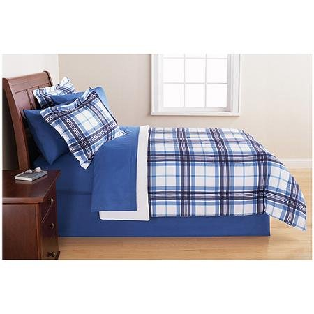 Bedding Set Complete 6pc Boy Blue Plaid College Dorm Reversible Full Comforter and Bedding Set
