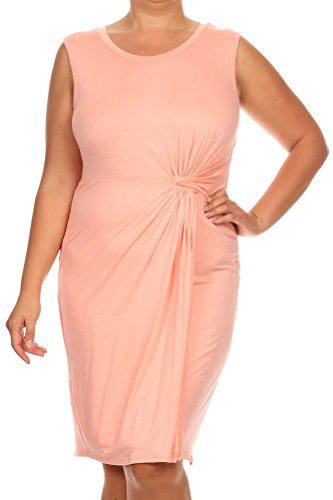 [Pastel by Vivienne Women's Jersey Dress with Waist Ruched Detail Plus X-Large Peach] (Cheap Plus Size Fancy Dress)