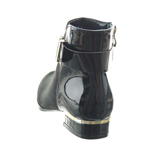 Sopily - damen Mode Schuhe Stiefeletten Reitstiefel - Kavalier bi-Material glänzende Schleife metallisch - Schwarz